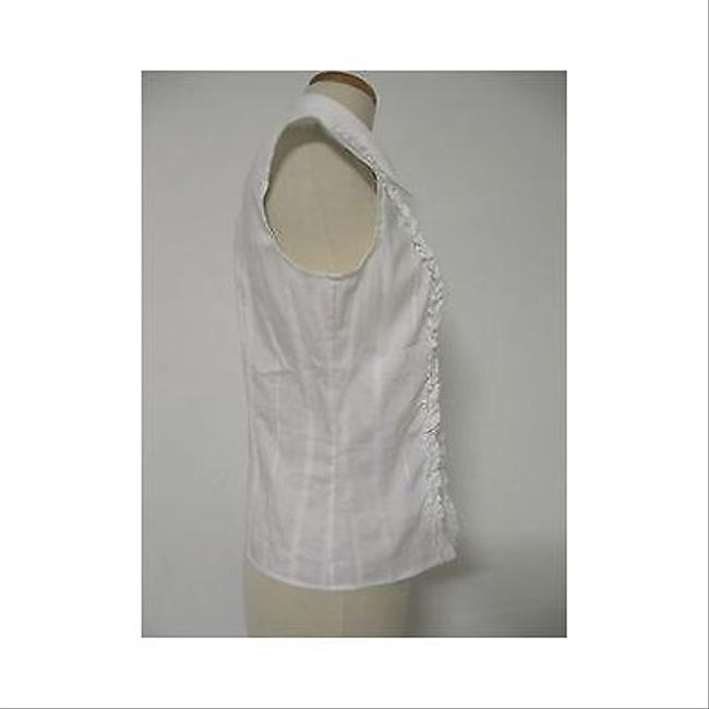 Piazza Sempione Womens Collared Sleeveless Shirt Blouse Top White