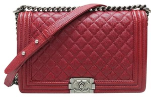 Chanel Boy Red Caviar Medium Shoulder Bag