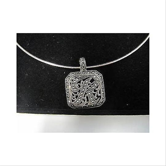 Other Suspicion Sterling Silver Marcasite R Initial Enhancer Wchain Necklace