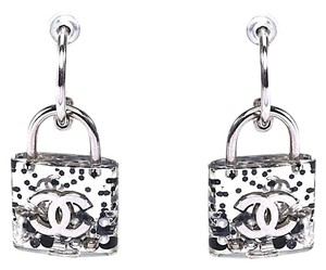 Chanel #HK008 14K CC RARE clear Padlock inlay Pearl Earrings pierced dangle