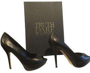 Truth or Dare by Madonna Leather Peep Black Platforms