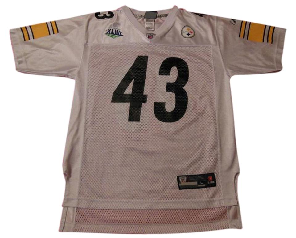 timeless design ad783 1e15f White Reebok Pittsburgh Steelers Super Bowl Troy Polamalu #43 Jersey Tee  Shirt Size 14 (L)