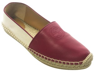 Gucci 392045 Espadrille Leather Canvas Natural Flats