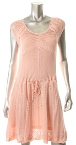 Pink Maxi Dress by Victoria's Secret Crochet Sleeveless Pointelle Lined Sweater