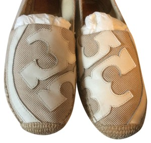 Tory Burch Taupe and cream Flats