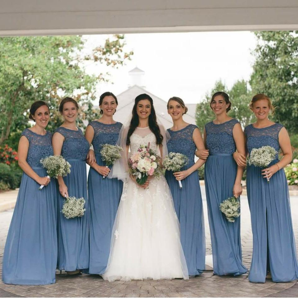 Davids Bridal Steel Blue Lace Mesh Cap Sleeve Bridesmaids