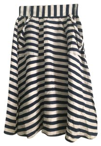 Comme Toi Nautical Summer Patch Pockets Skirt Navy/White Stripes
