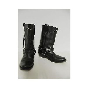 Golden Goose Deluxe Brand Leather Western Motorcycle Biker Black Boots