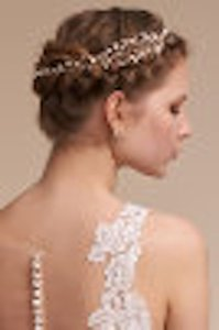 BHLDN Pearl & Gold Chantil Halo Hair Accessory