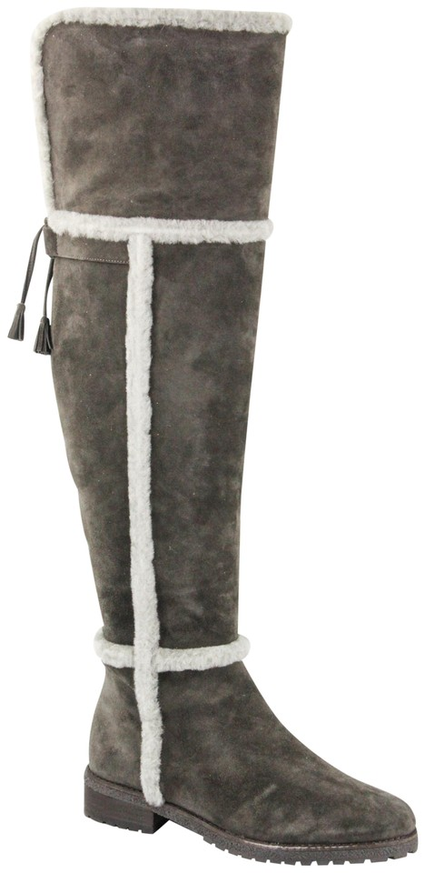 9e0ee32ebc0 Frye Shearling Over The Knee Suede Smoke Boots Image 0 ...