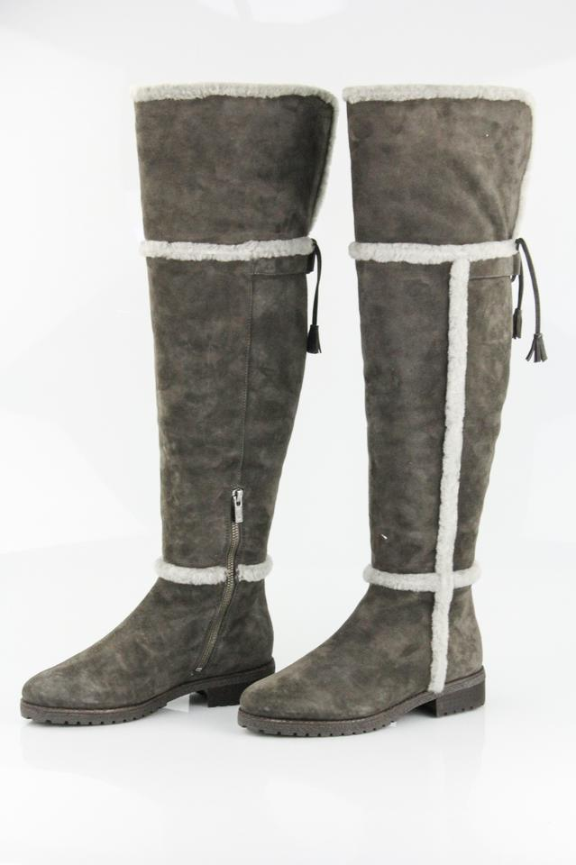53c83cb1c34 Frye Shearling Over The Knee Suede Smoke Boots Image 7. 12345678