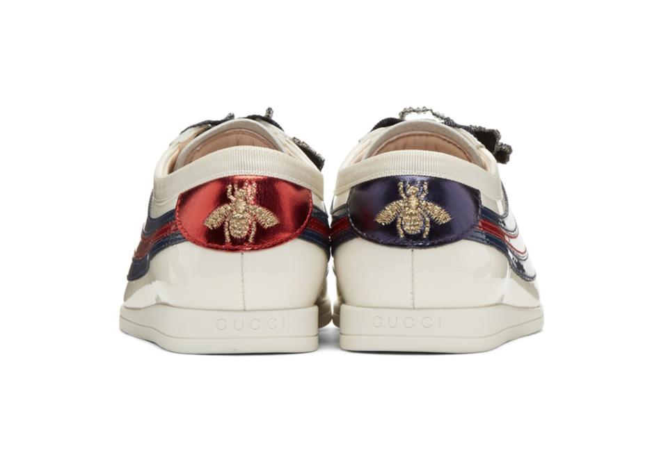 5aa4f3b2c66 Gucci Multicolor Sylvie Off-white Patent Web Falacer Sneakers ...