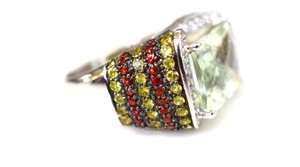 LeVian Levian Green Amethyst, Diamond, Orange/Yellow Sapphire Ring