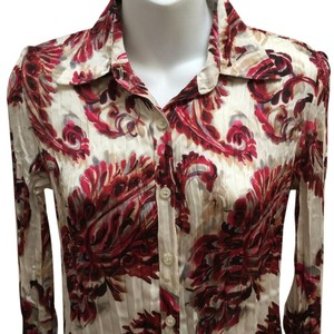Dana Buchman Paisley Longsleeve Button Down Shirt Red