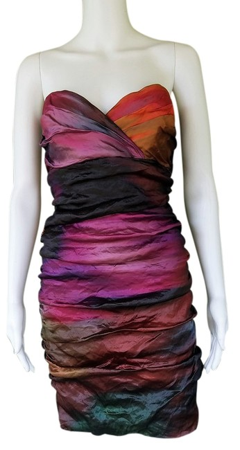 Item - Multi-color Strapless Ruched Crinkled Wiggle Corset Short Night Out Dress Size 2 (XS)