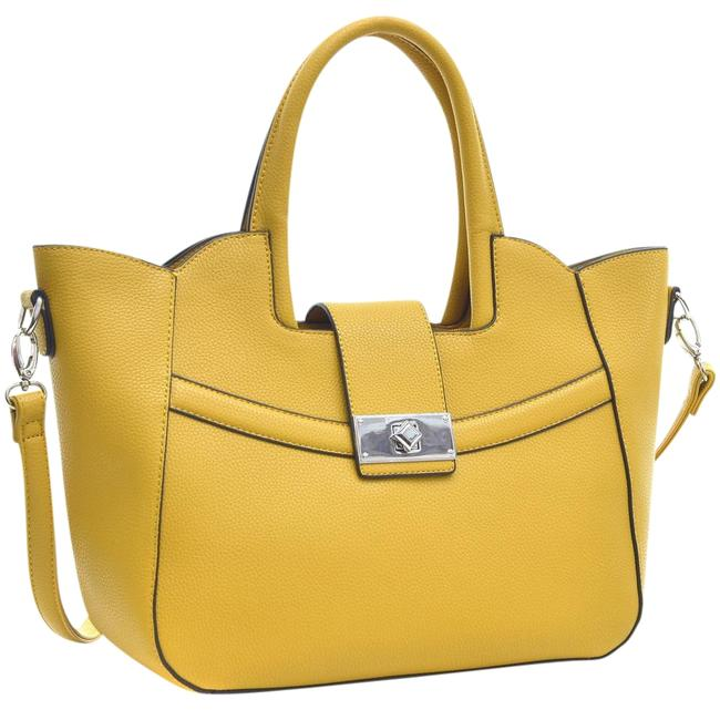 Item - Winged with Shoulder Strap Yellow Faux Leather Satchel