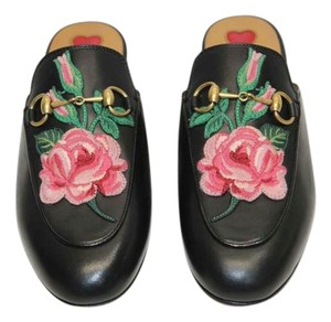 Gucci Flowers Slippers BLACK Mules