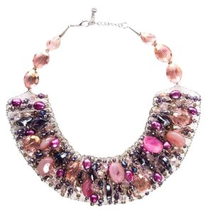 Nakamol Multicolored Crystal & Pearl Bib Necklace