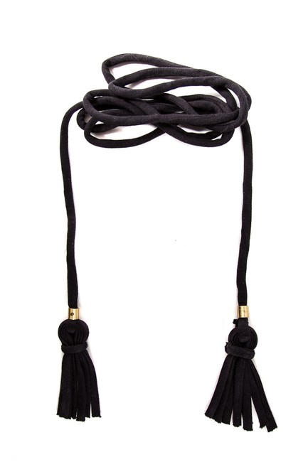 Item - Black Knit Gold-tone Logo Detail Tassel Embellished Belt