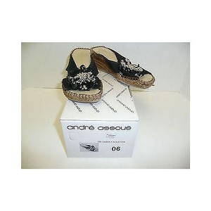 Other Andre Samba Silk Wedges Sandals Heels Blacks Platforms