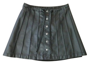 Free People Pleated Belt Belted Faux Leather Leather Mini Skirt black