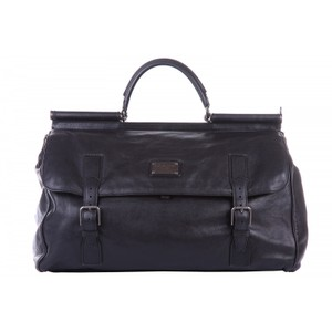 Dolce&Gabbana Leather Italian Vintage Black Travel Bag