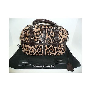 Dolce&Gabbana Leopard Pony Hair Miss Handbag Tote in Browns