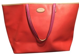Coach Tote in orange & pink