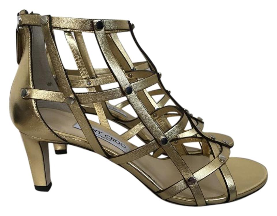 bb3dee3be22 Jimmy Choo Gold Tina 65 Leather Stud Caged Heels Sandals Size EU ...