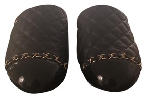 Chanel black with gold chain. Mules