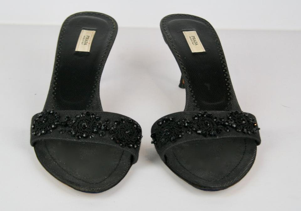 4c21adfe7612 Prada Black Beaded   Fabric Kitten Heels Sandals Size EU 38.5 ...