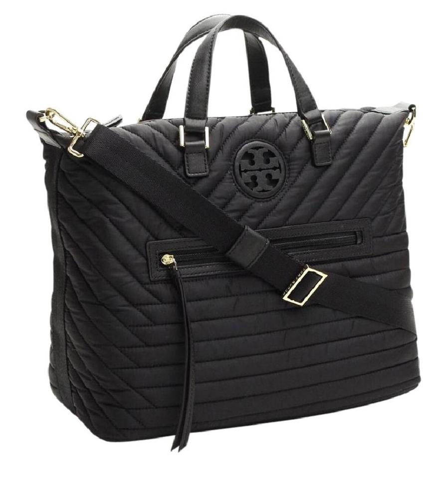 12639101e56 Tory Burch Quilted Slouchy Satchel Black Nylon Cross Body Bag - Tradesy