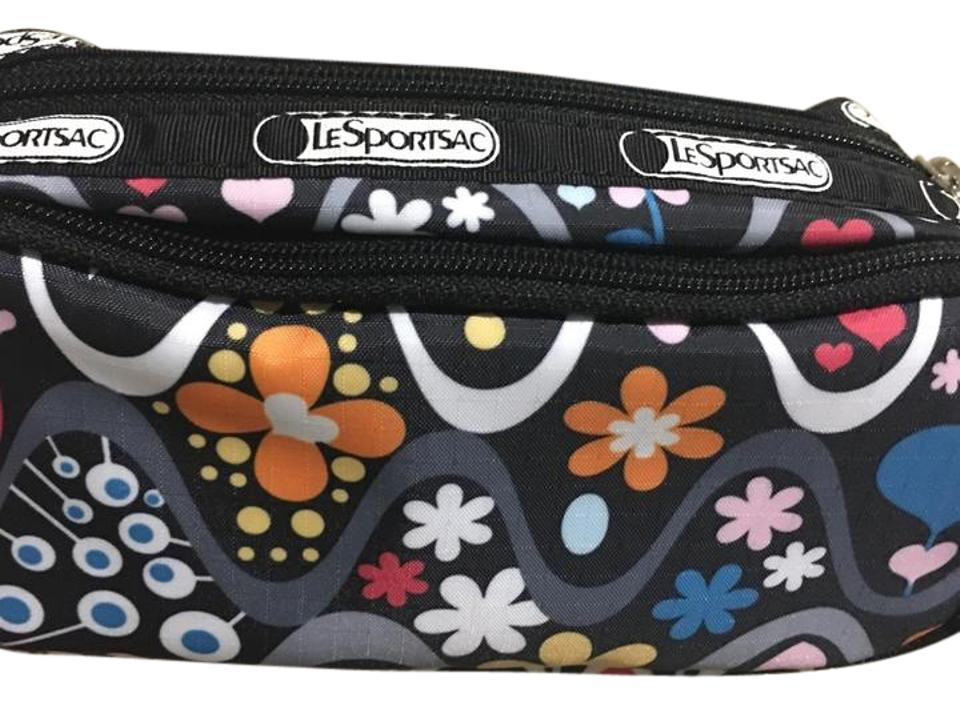 Lesportsac Black And Various New Makeup Bag With 3 Compartments Comes 2 Main Zippers One Is Like A Pouch The Second Zipper