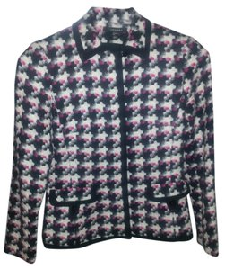 Louben Unique Bright Wool Black/White/Fuschia Print Blazer