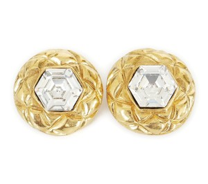 Chanel 1980s Rare Vintage Chanel Crystal stone Gold Earrings