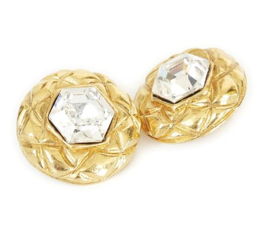 Chanel 1980s Rare Vintage Chanel Crystal stone Gold Earrings Image 1