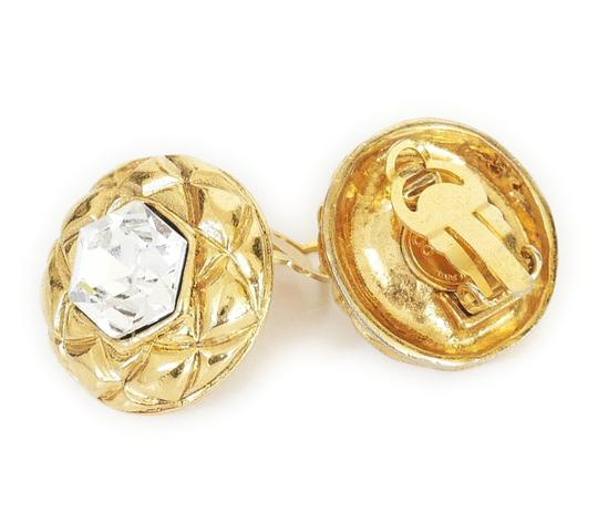 Chanel 1980s Rare Vintage Chanel Crystal stone Gold Earrings Image 3