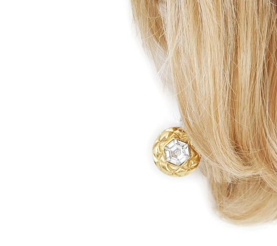 Chanel 1980s Rare Vintage Chanel Crystal stone Gold Earrings Image 4