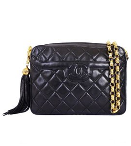 Chanel Vintage Lambskin Leather Tassel Shoulder Bag