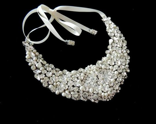 Statement Bib Crystal Statement Rhinestone and Pearls Necklace