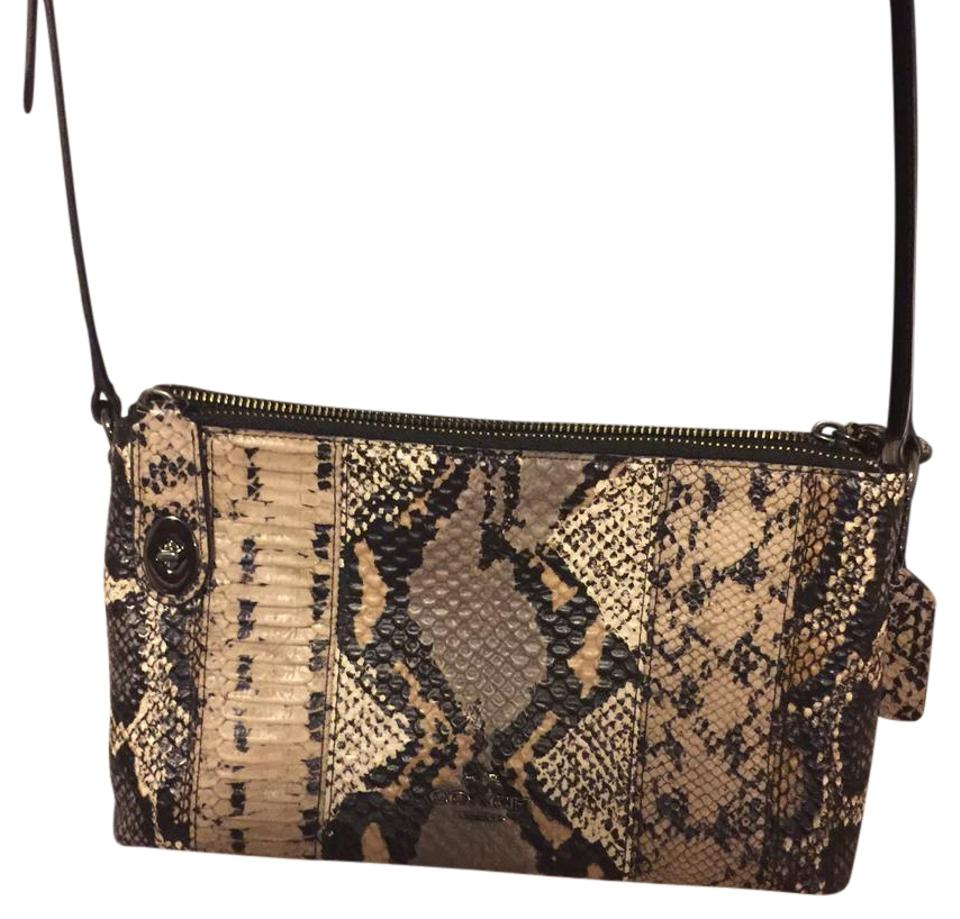 9d85e8a433f3 Coach Snake Embossed Black Tan Taupe and Ivory Leather Cross Body ...