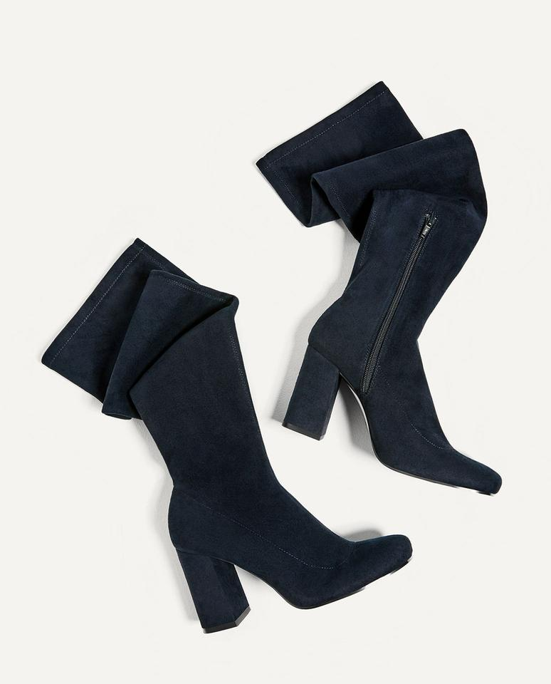 e714afb48f7 Zara Navy Blue New Over The Knee Stretch Leg Tall Boots Booties Size ...