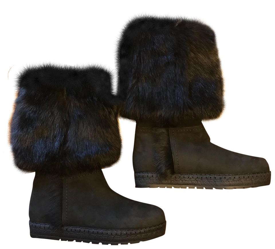 Prada Black Soft Fur Leather Shearling Fur Soft Lined Boots/Booties c39295