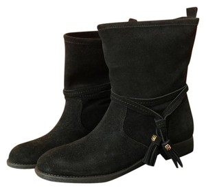 Tommy Hilfiger Leather Round Toe Black Boots