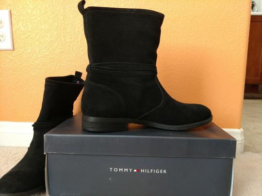 Tommy Hilfiger Leather Round Toe Black Boots Image 2