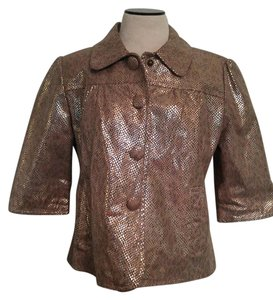 Live A Little Metallic Suede Leather Pleated Chic Gold Jacket