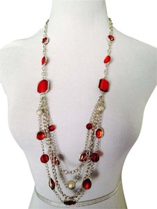 NWOT TriNWOT 4-Strand Red Faceted Glass Silver-Tone Long Necklace