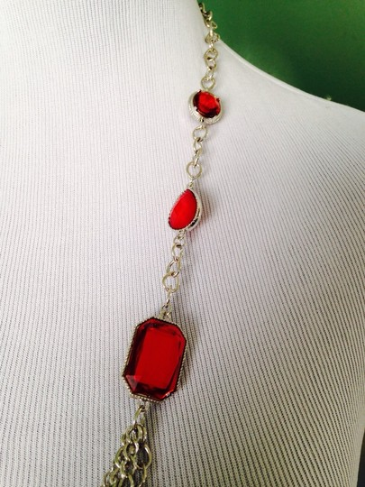 Other NWOT TriNWOT 4-Strand Red Faceted Glass Silver-Tone Long Necklace