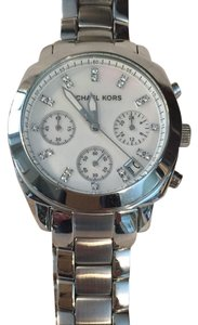 Michael Kors Silver-Tone Mother of Pearl Dial Chronograph Women's watch