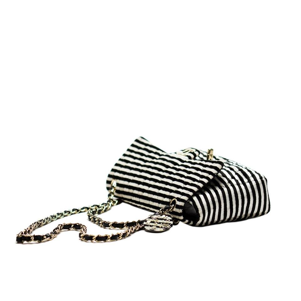 Chanel Classic Flap With Charms Black & White Striped